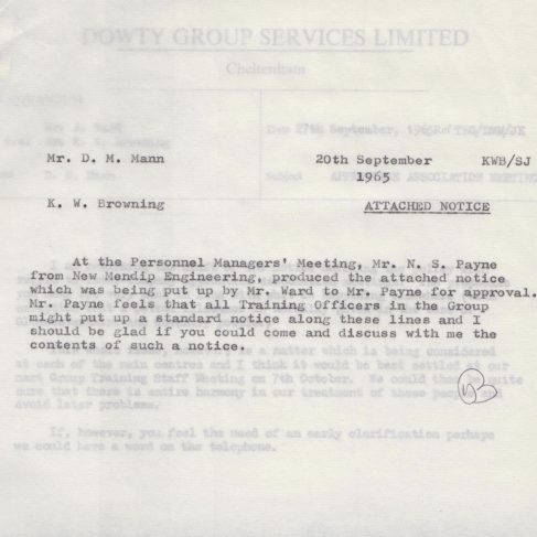 Dowty Apprentice Association - Memo regarding Dowty Apprentice Association Meetings 1968 | Original photo in the Dowty archive at the Gloucestershire Heritage Hub