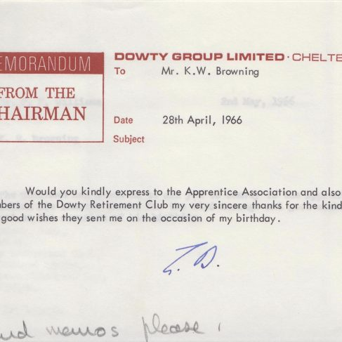 Dowty Apprentice Association - Memo from Sir George Dowty acknowledging birthday wishes | Original photo in the Dowty archive at the Gloucestershire Heritage Hub