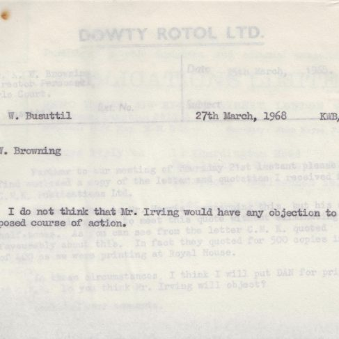 Dowty Apprentice Association - Memo regarding Dowty Apprentice News 1968 | Original photo in the Dowty archive at the Gloucestershire Heritage Hub