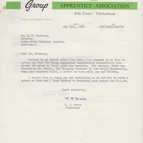 Dowty Apprentice Association - Memo regarding Pedal Car Marathon by New Mendip Engineering Apprentices July 1968 | Original photo in the Dowty archive at the Gloucestershire Heritage Hub