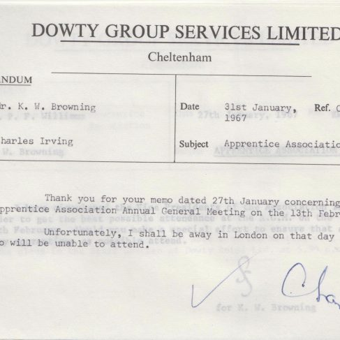 Dowty Apprentice Association - Memo regarding Apprentice AGM Jan 1967 | Original photo in the Dowty archive at the Gloucestershire Heritage Hub