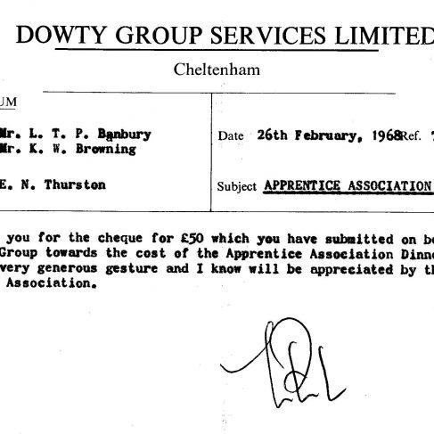 Dowty Apprentice Association - Memo regarding Dowty Apprentice Annual Dance 1968   Original photo in the Dowty archive at the Gloucestershire Heritage Hub