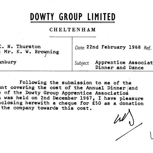 Dowty Apprentice Association - Memo regarding Dowty Apprentice Annual Dance 1968 | Original photo in the Dowty archive at the Gloucestershire Heritage Hub