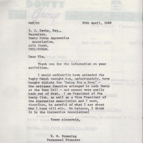 Dowty Apprentice Association - Memo regarding Dowty Apprentice Association Rugby match 1968 | Original photo in the Dowty archive at the Gloucestershire Heritage Hub