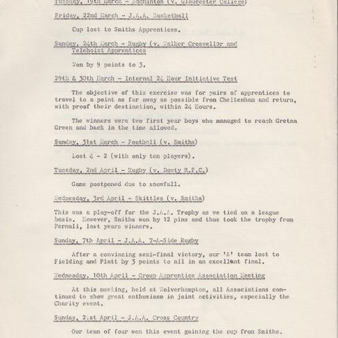 Dowty Apprentice Association - Memo to Sir George Dowty regarding Apprentice Events April 1968 | Original photo in the Dowty archive at the Gloucestershire Heritage Hub