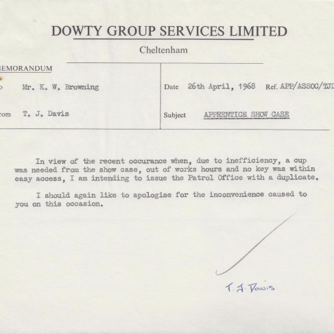 Dowty Apprentice Association - Memo regarding Dowty Apprentice Association Trophy Case 1968 | Original photo in the Dowty archive at the Gloucestershire Heritage Hub