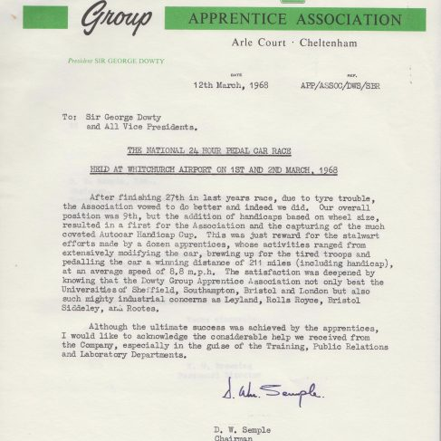 Dowty Apprentice Association - Memo regarding Dowty Apprentice Association National Pedal Race 1968 | Original photo in the Dowty archive at the Gloucestershire Heritage Hub