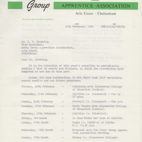 Dowty Apprentice Association - Memo to Ken Browning regarding Apprentice Events February 1968 | Original photo in the Dowty archive at the Gloucestershire Heritage Hub