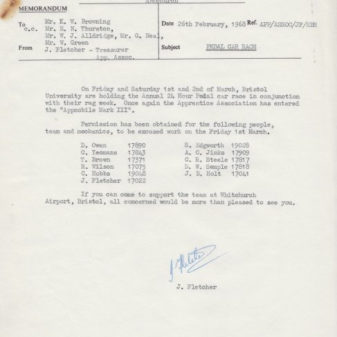 Dowty Apprentice Association - Memo to Ken Browning regarding Apprentice Pedal Car Race at Whitchurch Feb 1968 | Original photo in the Dowty archive at the Gloucestershire Heritage Hub
