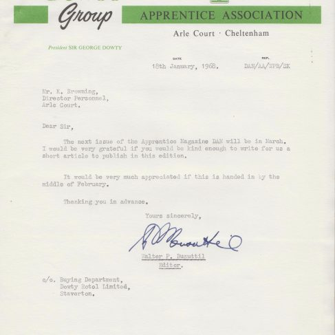 Dowty Apprentice Association - Memo regarding Dowty Apprentice News Jan 1968 | Original photo in the Dowty archive at the Gloucestershire Heritage Hub