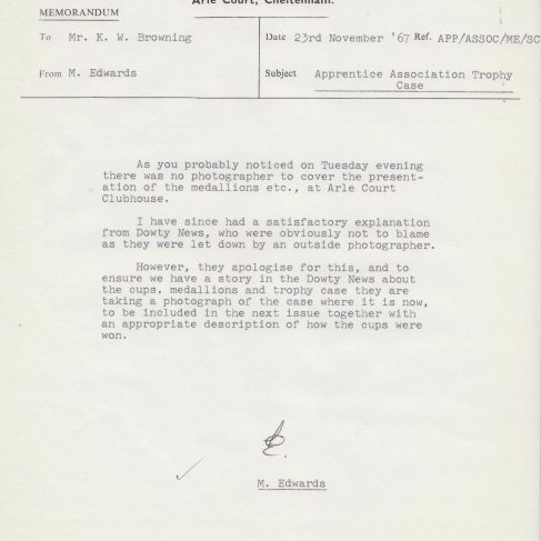 Dowty Apprentice Association - Memo regarding Dowty Apprentice Association Trophy Case 1967 | Original photo in the Dowty archive at the Gloucestershire Heritage Hub