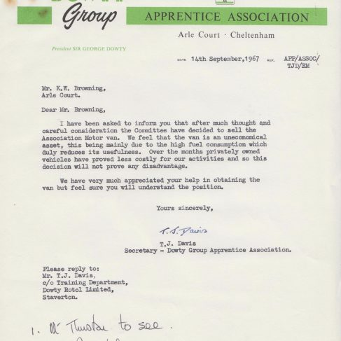 Dowty Apprentice Association - Memo regarding Apprentice Motor Van Sept 1967 | Original photo in the Dowty archive at the Gloucestershire Heritage Hub