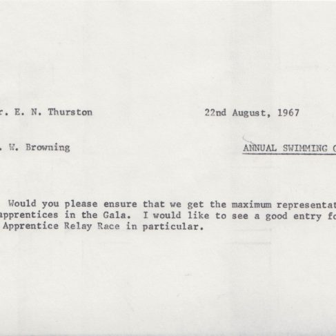 Dowty Apprentice Association - Memo regarding Annual Swimming Gala Aug 1967 | Original photo in the Dowty archive at the Gloucestershire Heritage Hub