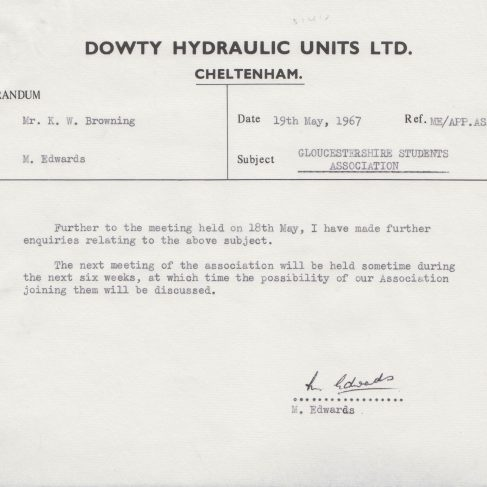 Dowty Apprentice Association - Memo regarding Gloucestershire Students Association May 1967 | Original photo in the Dowty archive at the Gloucestershire Heritage Hub