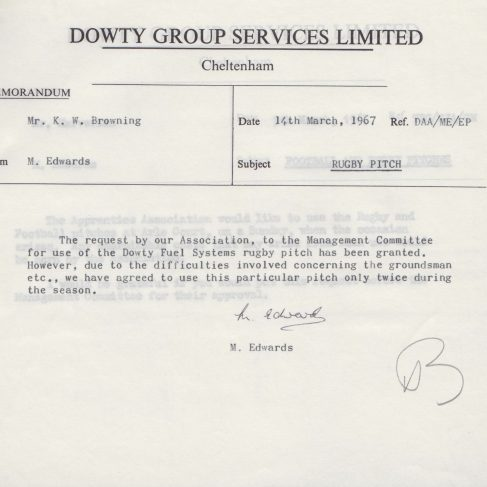 Dowty Apprentice Association - Memo regarding Dowty Apprentice Football & Rugby pitches 1967 | Original photo in the Dowty archive at the Gloucestershire Heritage Hub