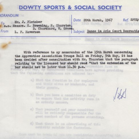 Dowty Apprentice Association - Memo regarding Dowty Apprentice Annual Dance 1967 | Original photo in the Dowty archive at the Gloucestershire Heritage Hub