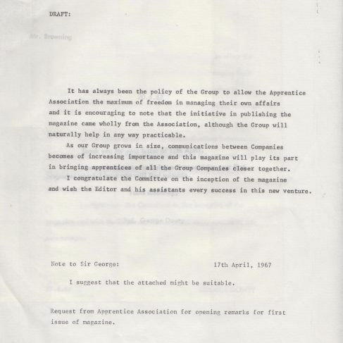 Dowty Apprentice Association - Memo regarding Dowty Apprentice News Apr 1967 | Original photo in the Dowty archive at the Gloucestershire Heritage Hub