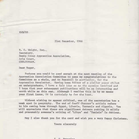 Dowty Apprentice Association - Memo regarding Dowty Apprentice Newsletter Dec 1966 | Original photo in the Dowty archive at the Gloucestershire Heritage Hub