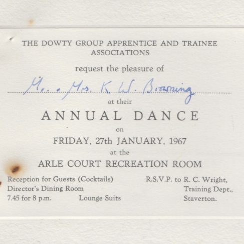 Dowty Apprentice Association - Memo regarding Dowty Apprentice Annual Dance Jan 1967 | Original photo in the Dowty archive at the Gloucestershire Heritage Hub