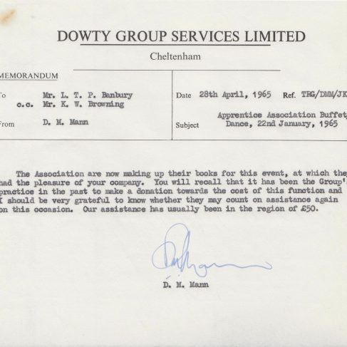 Dowty Apprentice Association - Memo regarding Dowty Apprentice Annual Dance Jan 1965 | Original photo in the Dowty archive at the Gloucestershire Heritage Hub