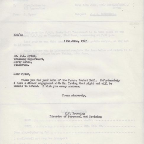 Dowty Apprentice Association - Memo regarding Dowty Apprentice Basketball Event 1967 | Original photo in the Dowty archive at the Gloucestershire Heritage Hub