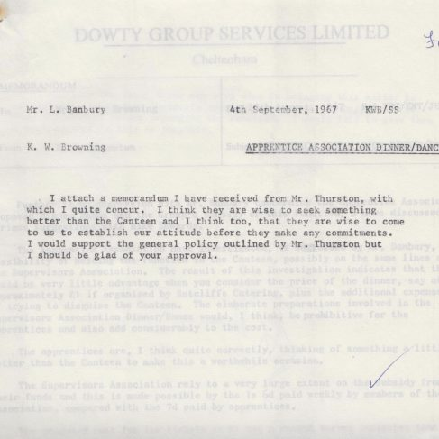 Dowty Apprentice Association - Memo regarding Dowty Apprentice Annual Dance Sept 1967 | Original photo in the Dowty archive at the Gloucestershire Heritage Hub
