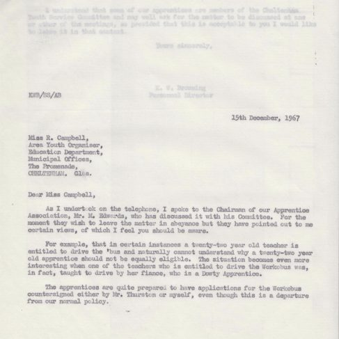 Dowty Apprentice Association - Memo regarding Dowty Apprentice and Cheltenham Borough Education Department 1967 | Original photo in the Dowty archive at the Gloucestershire Heritage Hub