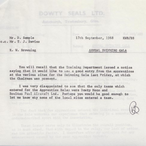 Dowty Apprentice Association - Memo regarding Annual Swimming Gala Sept 1968 | Original photo in the Dowty archive at the Gloucestershire Heritage Hub