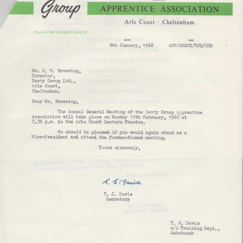 Dowty Apprentice Association - Memo regarding Dowty Apprentice AGM Jan 1968 | Original photo in the Dowty archive at the Gloucestershire Heritage Hub
