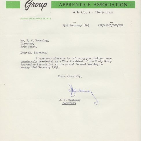 Dowty Apprentice Association - Memo regarding Dowty Apprentice AGM Jan 1965 | Original photo in the Dowty archive at the Gloucestershire Heritage Hub