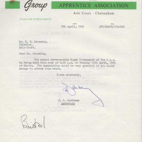 Dowty Apprentice Association - Memo regarding Dowty Apprentices Rugby tournament 1965 | Original photo in the Dowty archive at the Gloucestershire Heritage Hub