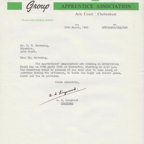Dowty Apprentice Association - Memo regarding Dowty Apprentices Field Day 1965 | Original photo in the Dowty archive at the Gloucestershire Heritage Hub