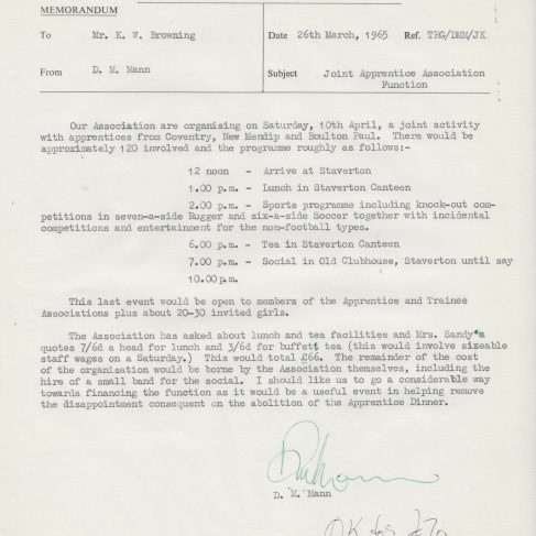 Dowty Apprentice Association - Memo regarding Dowty Apprentices Joint Function 1965 | Original photo in the Dowty archive at the Gloucestershire Heritage Hub