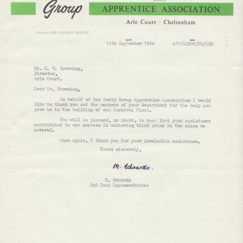 Dowty Apprentice Association - Memo regarding Dowty Apprentices entering a