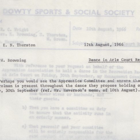 Dowty Apprentice Association - Memo regarding Dowty Apprentice Annual Dance 1966 | Original photo in the Dowty archive at the Gloucestershire Heritage Hub