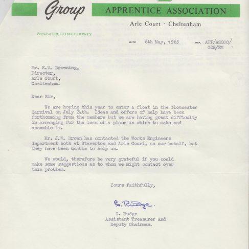 Dowty Apprentice Association - Memo regarding Dowty Apprentices entering a