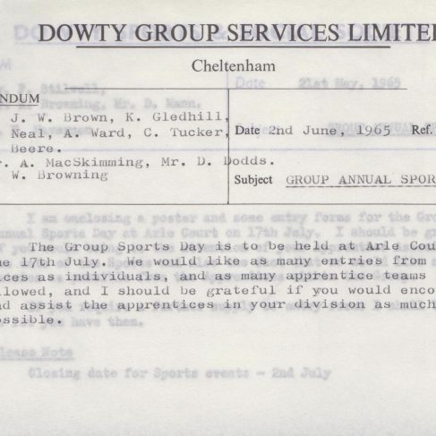 Dowty Apprentice Association - Memo regarding Dowty Group Annual Sports Day 1965 | Original photo in the Dowty archive at the Gloucestershire Heritage Hub