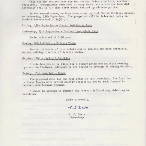 Dowty Apprentice Association - Memo to Ken Browning regarding Apprentice Events September 1968 | Original photo in the Dowty archive at the Gloucestershire Heritage Hub
