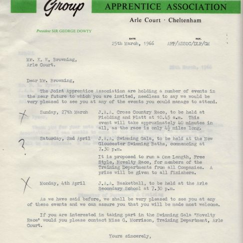 Dowty Apprentice Association - Memo regarding Dowty Apprentice list of events 1966 | Original photo in the Dowty archive at the Gloucestershire Heritage Hub
