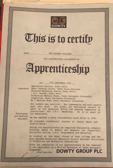 Lee R Williams 1991 - Apprentice Completion Certificate  | Lee R Williams