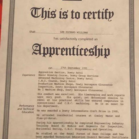 Lee R Williams 1991 - Apprentice Completion Certificate  | Lee R Williams