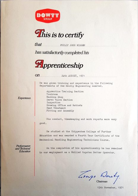 Phillip Missen 1971 - Apprentice Completion Certificate | Phillip Missen