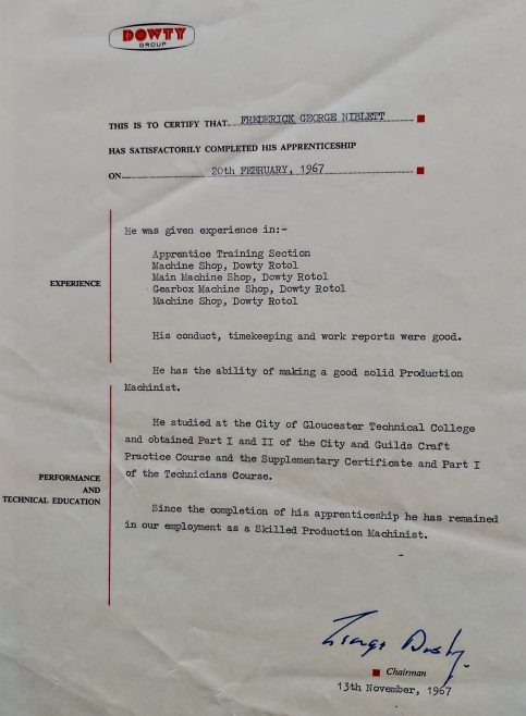 Frederick G Niblett 1967 - Apprentice Completion Certificate  | Frederick G Niblett