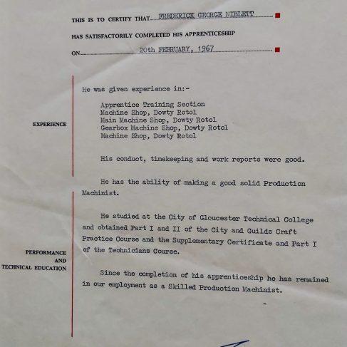 Frederick G Niblett 1967 - Apprentice Completion Certificate  | Frederick G Niblett