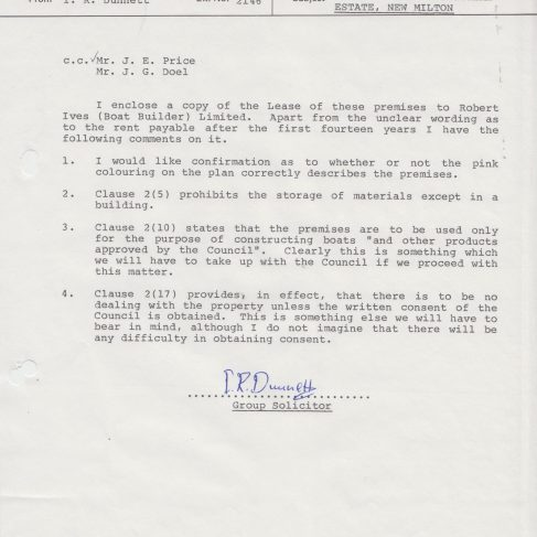 Herman Engineering Products - Lease of Premises Memo | Original photo in the Dowty archive at the Gloucestershire Heritage Hub