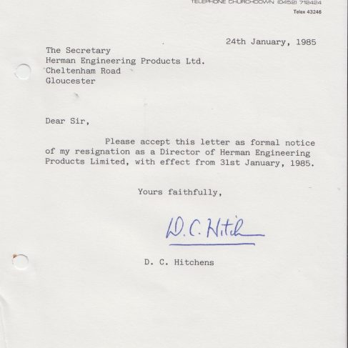 Herman Engineering Products - Director Resignation Letter | Original photo in the Dowty archive at the Gloucestershire Heritage Hub