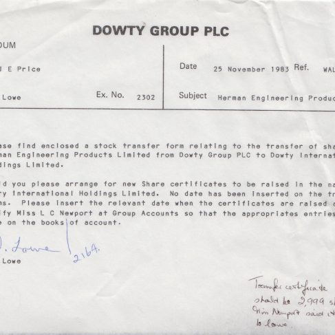 Herman Engineering Products - Transfer of Shares Memo | Original photo in the Dowty archive at the Gloucestershire Heritage Hub