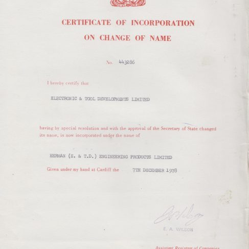 Herman Engineering Products - Certificate of Incorporation on Change of name | Original photo in the Dowty archive at the Gloucestershire Heritage Hub