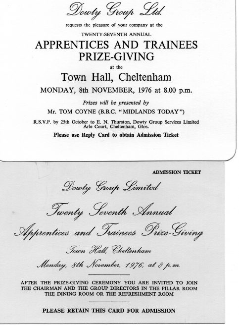 Dowty Group Services -Invitation to Apprentice Prize-giving at Cheltenham Town Hall 1973 | Alan Martin