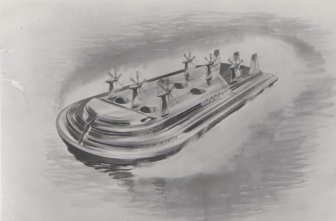Hovercraft Futuristic Design | Original photo in the Dowty archive at the Gloucestershire Heritage Hub